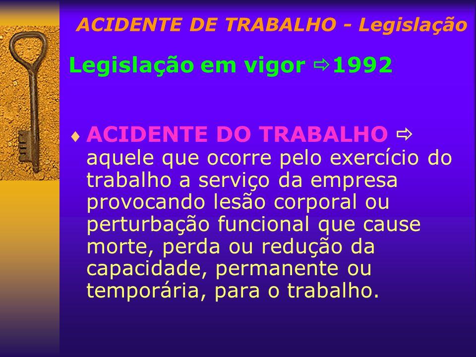 ACIDENTE DE TRABALHO - Legislação Legislação em vigor 1992 ACIDENTE DO TRABALHO aquele que ocorre pelo exercício do trabalho a serviço da empresa prov
