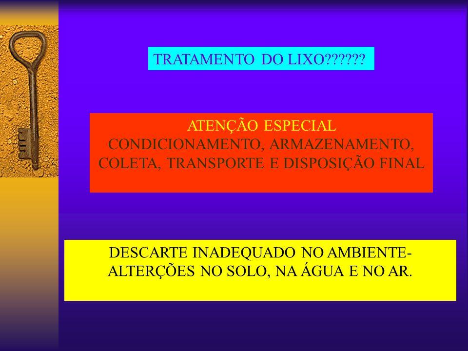 TRATAMENTO DO LIXO?????? ATENÇÃO ESPECIAL CONDICIONAMENTO, ARMAZENAMENTO, COLETA, TRANSPORTE E DISPOSIÇÃO FINAL DESCARTE INADEQUADO NO AMBIENTE- ALTER