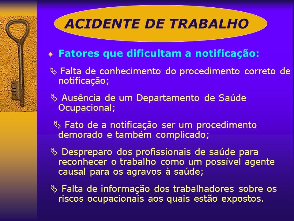 ACIDENTE DE TRABALHO Fatores que dificultam a notificação: Falta de conhecimento do procedimento correto de notificação; Ausência de um Departamento d
