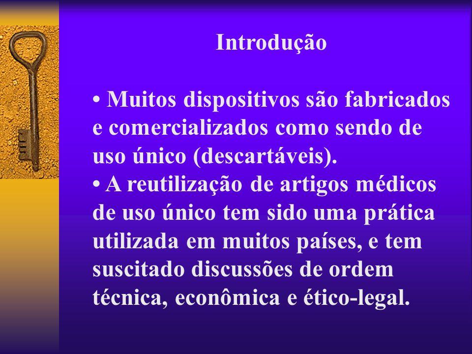 Introdução Muitos dispositivos são fabricados e comercializados como sendo de uso único (descartáveis). A reutilização de artigos médicos de uso único