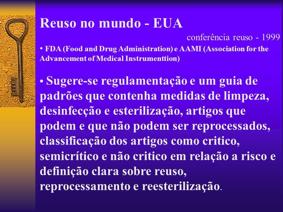 Reuso no mundo - EUA conferência reuso - 1999 FDA (Food and Drug Administration) e AAMI (Association for the Advancement of Medical Instrumenttion) Su