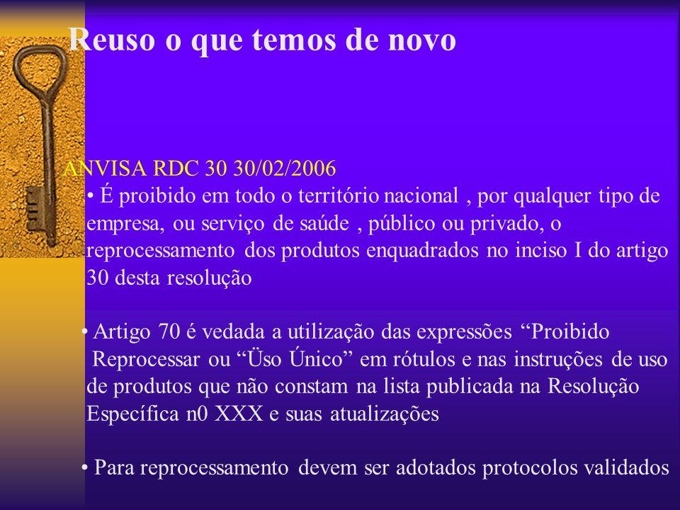 Reuso o que temos de novo ANVISA RDC 30 30/02/2006 É proibido em todo o território nacional, por qualquer tipo de empresa, ou serviço de saúde, públic