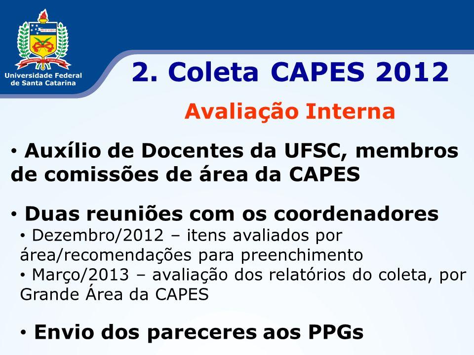 2. Coleta CAPES 2012 Avaliação Interna Auxílio de Docentes da UFSC, membros de comissões de área da CAPES Duas reuniões com os coordenadores Dezembro/
