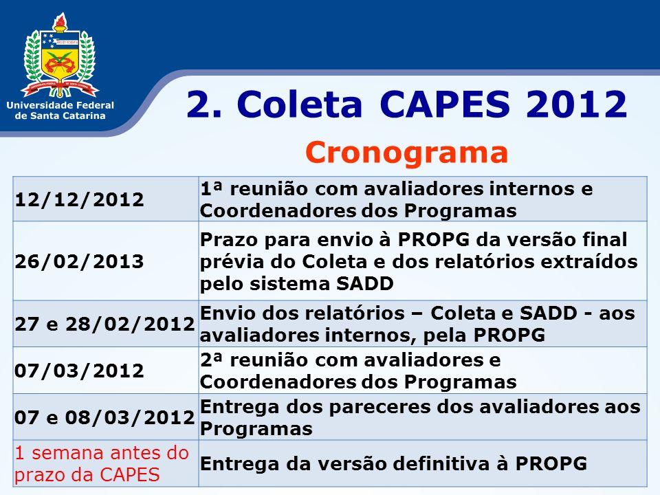 2. Coleta CAPES 2012 Cronograma 12/12/2012 1ª reunião com avaliadores internos e Coordenadores dos Programas 26/02/2013 Prazo para envio à PROPG da ve