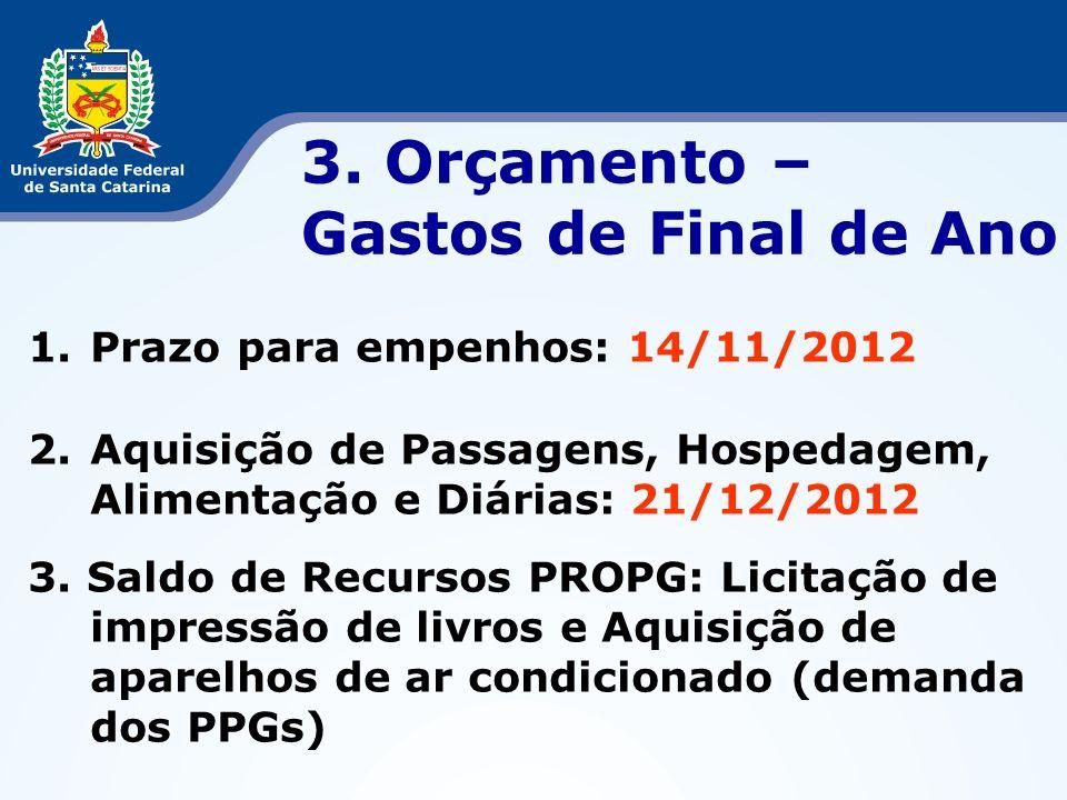 3. Orçamento – Gastos de Final de Ano 1.Prazo para empenhos: 14/11/2012 2.Aquisição de Passagens, Hospedagem, Alimentação e Diárias: 21/12/2012 3. Sal