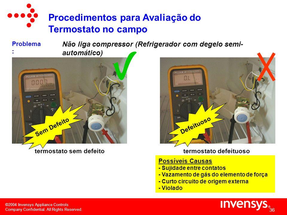 ©2004 Invensys Appliance Controls Company Confidential. All Rights Reserved. 35 Não liga compressor (Refrigerador com degelo semi- automático) 1) se o