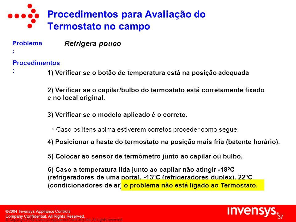 ©2004 Invensys Appliance Controls Company Confidential. All Rights Reserved. 36 Não liga compressor (Refrigerador com degelo semi- automático) Procedi