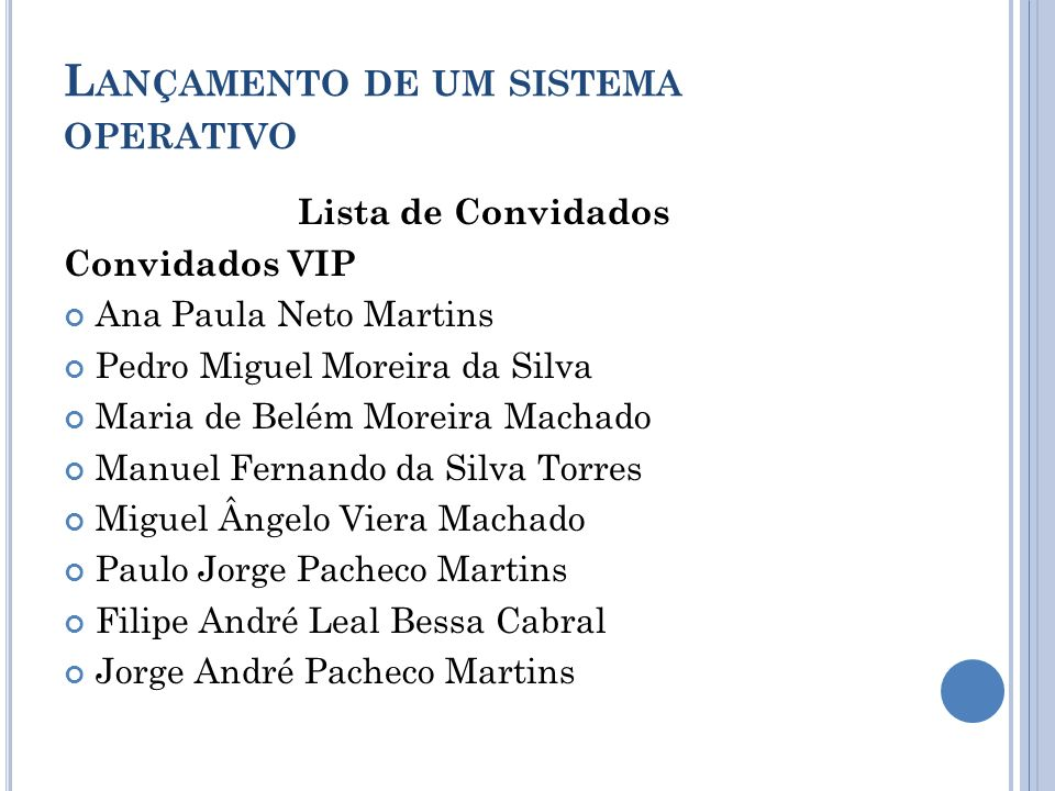 L ANÇAMENTO DE UM SISTEMA OPERATIVO Lista de Convidados Convidados VIP Ana Paula Neto Martins Pedro Miguel Moreira da Silva Maria de Belém Moreira Mac