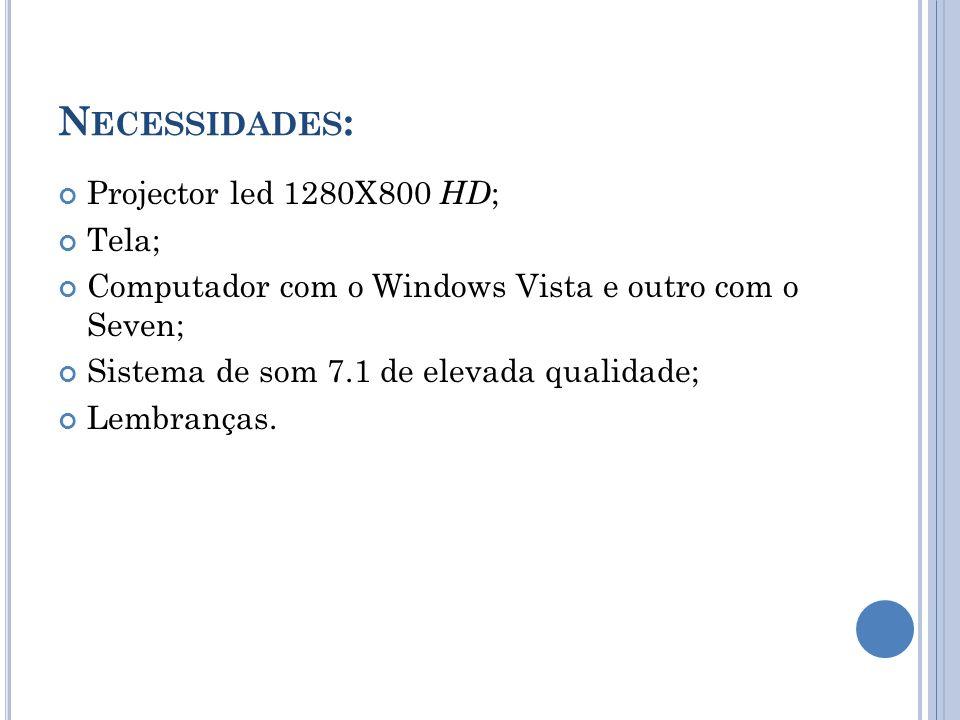 N ECESSIDADES : Projector led 1280X800 HD ; Tela; Computador com o Windows Vista e outro com o Seven; Sistema de som 7.1 de elevada qualidade; Lembran