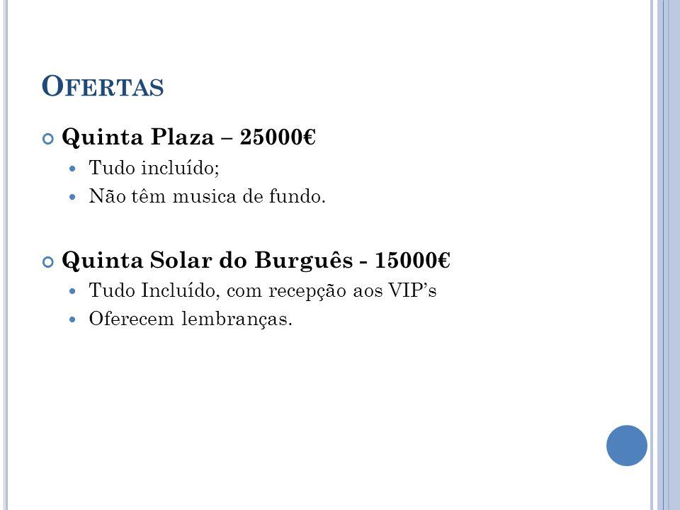 O FERTAS Quinta Plaza – 25000 Tudo incluído; Não têm musica de fundo. Quinta Solar do Burguês - 15000 Tudo Incluído, com recepção aos VIPs Oferecem le