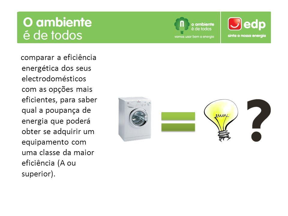 . comparar a eficiência energética dos seus electrodomésticos com as opções mais eficientes, para saber qual a poupança de energia que poderá obter se