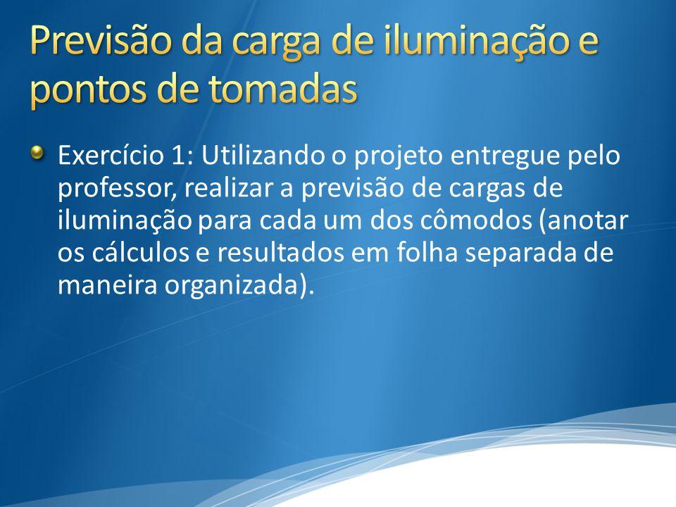 Exercício 1: Utilizando o projeto entregue pelo professor, realizar a previsão de cargas de iluminação para cada um dos cômodos (anotar os cálculos e