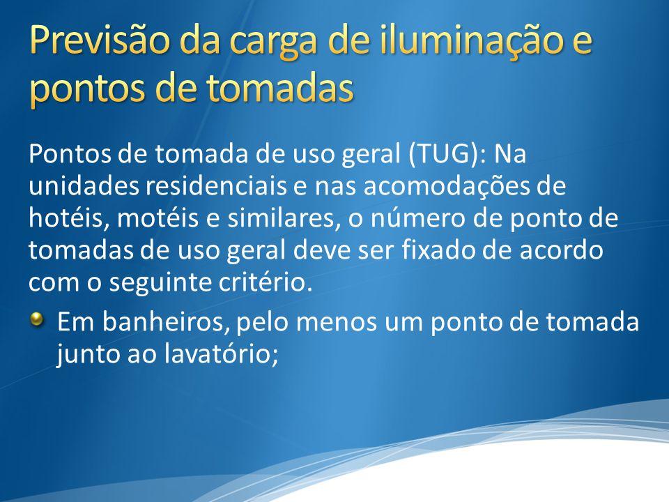 Pontos de tomada de uso geral (TUG): Na unidades residenciais e nas acomodações de hotéis, motéis e similares, o número de ponto de tomadas de uso ger