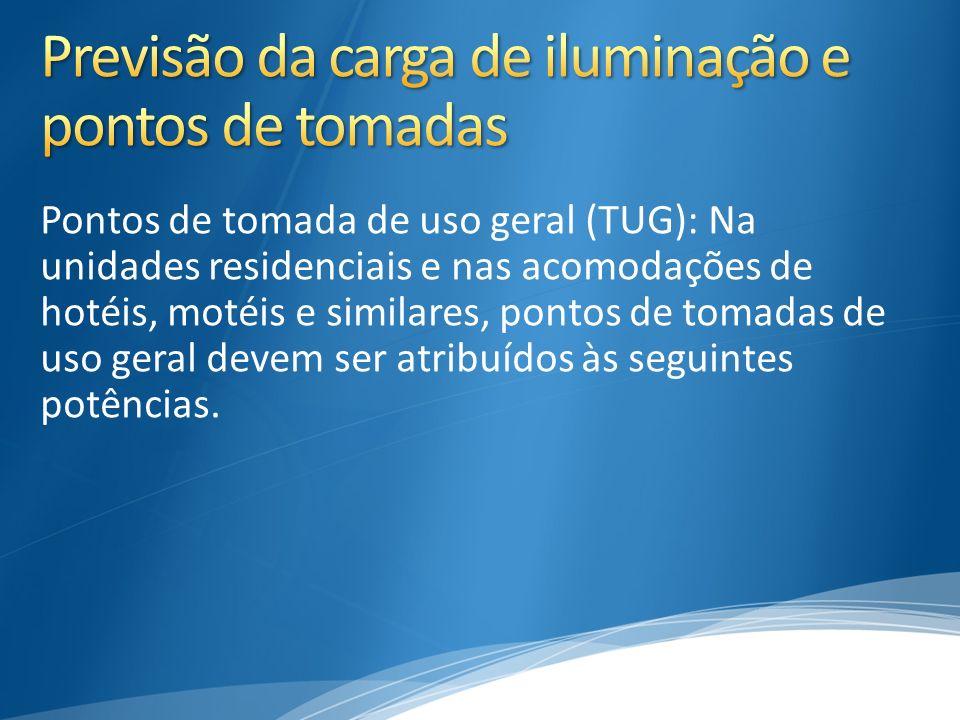 Pontos de tomada de uso geral (TUG): Na unidades residenciais e nas acomodações de hotéis, motéis e similares, pontos de tomadas de uso geral devem se