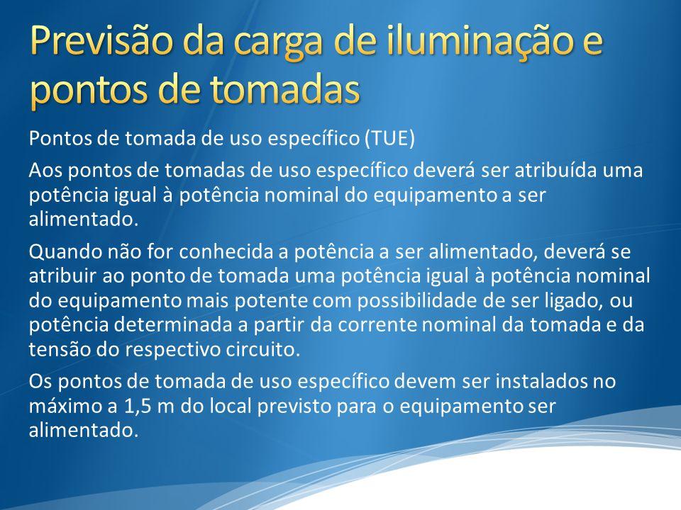Pontos de tomada de uso específico (TUE) Aos pontos de tomadas de uso específico deverá ser atribuída uma potência igual à potência nominal do equipam