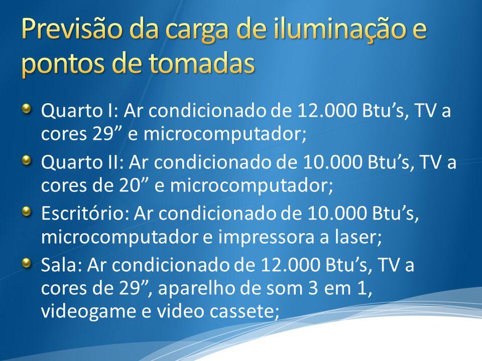 Quarto I: Ar condicionado de 12.000 Btus, TV a cores 29 e microcomputador; Quarto II: Ar condicionado de 10.000 Btus, TV a cores de 20 e microcomputad