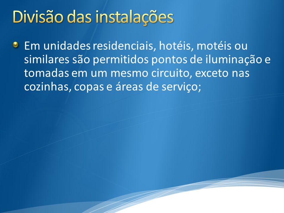 Em unidades residenciais, hotéis, motéis ou similares são permitidos pontos de iluminação e tomadas em um mesmo circuito, exceto nas cozinhas, copas e