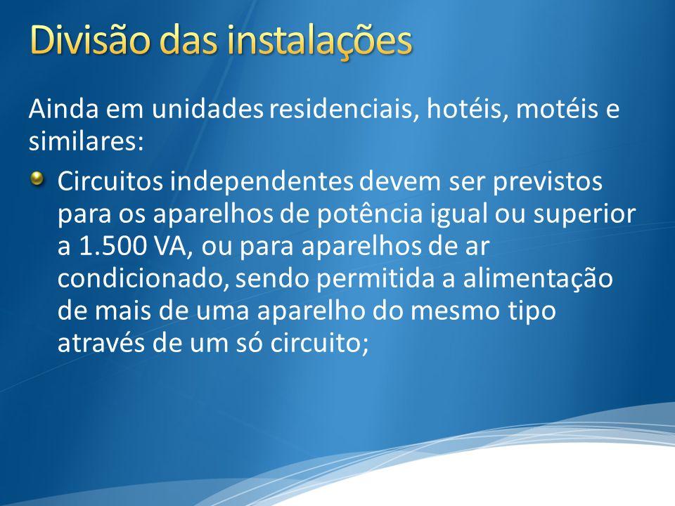 Ainda em unidades residenciais, hotéis, motéis e similares: Circuitos independentes devem ser previstos para os aparelhos de potência igual ou superio