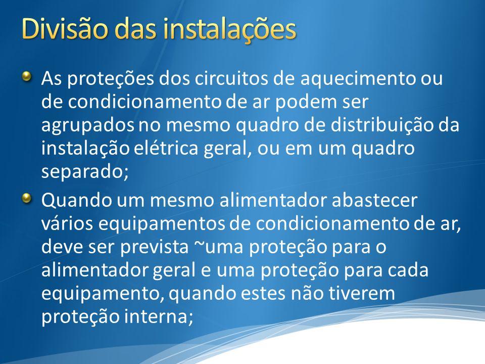 As proteções dos circuitos de aquecimento ou de condicionamento de ar podem ser agrupados no mesmo quadro de distribuição da instalação elétrica geral