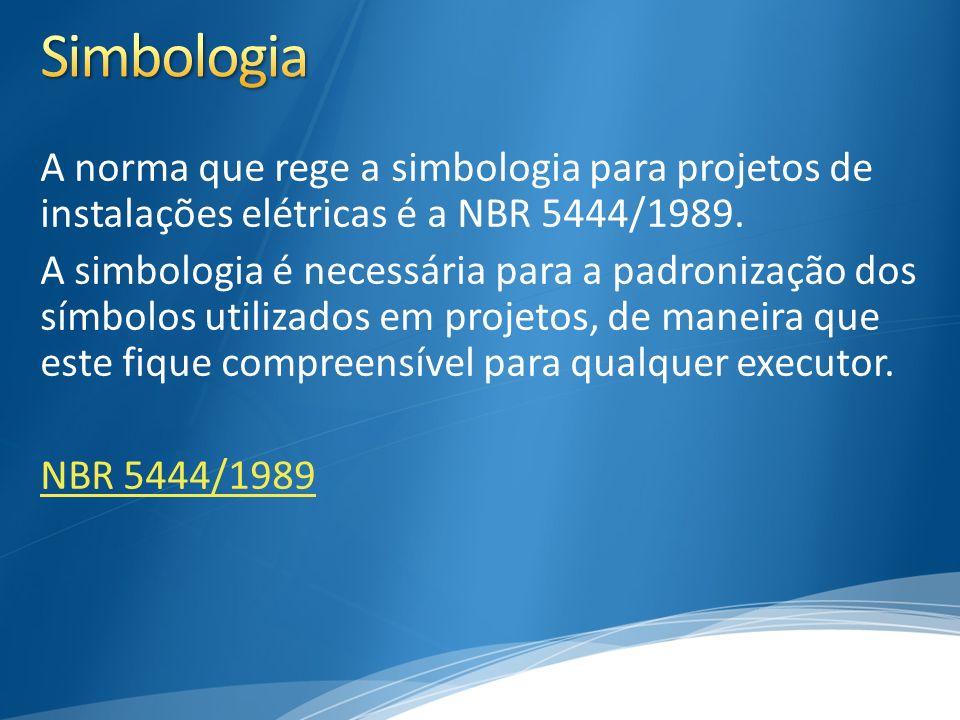 A norma que rege a simbologia para projetos de instalações elétricas é a NBR 5444/1989. A simbologia é necessária para a padronização dos símbolos uti