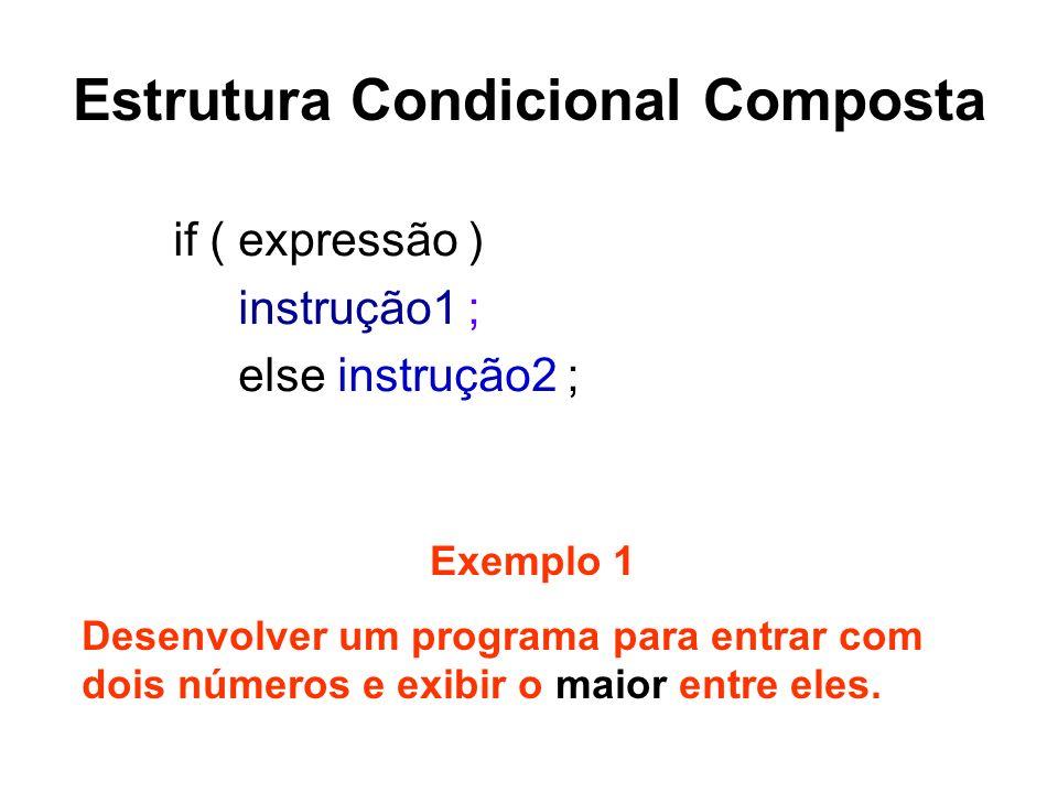 Estrutura Condicional Composta if ( expressão ) instrução1 ; else instrução2 ; Exemplo 1 Desenvolver um programa para entrar com dois números e exibir