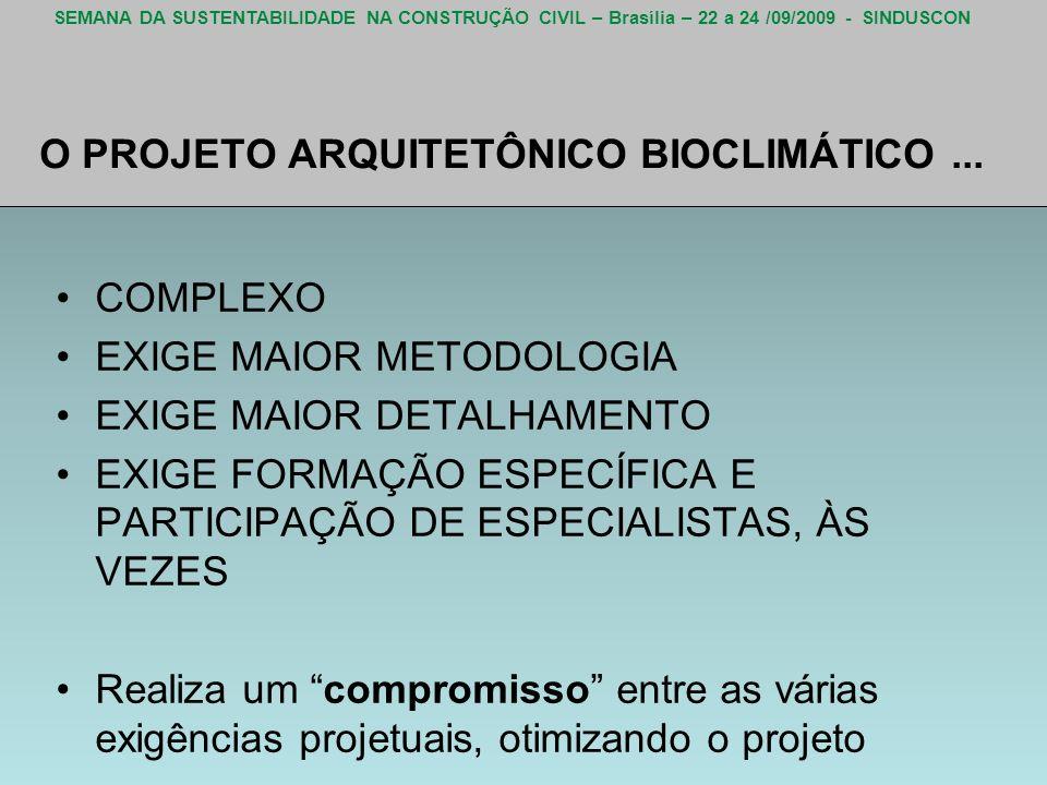 SEMANA DA SUSTENTABILIDADE NA CONSTRUÇÃO CIVIL – Brasília – 22 a 24 /09/2009 - SINDUSCON O PROJETO ARQUITETÔNICO BIOCLIMÁTICO... COMPLEXO EXIGE MAIOR