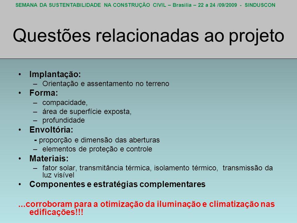 SEMANA DA SUSTENTABILIDADE NA CONSTRUÇÃO CIVIL – Brasília – 22 a 24 /09/2009 - SINDUSCON Questões relacionadas ao projeto Implantação: –Orientação e a