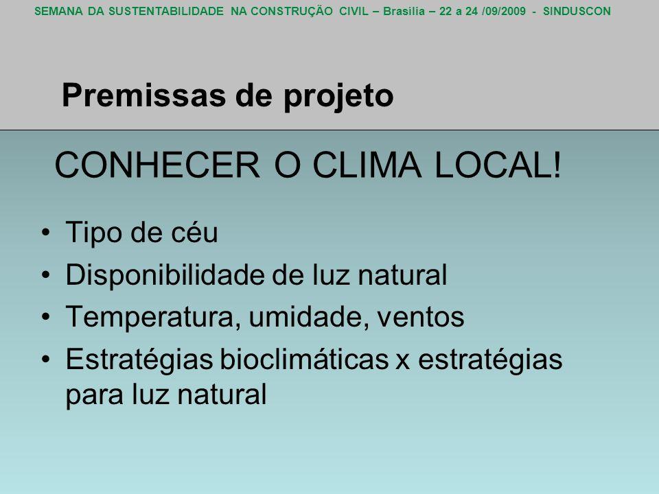 SEMANA DA SUSTENTABILIDADE NA CONSTRUÇÃO CIVIL – Brasília – 22 a 24 /09/2009 - SINDUSCON CONHECER O CLIMA LOCAL! Tipo de céu Disponibilidade de luz na