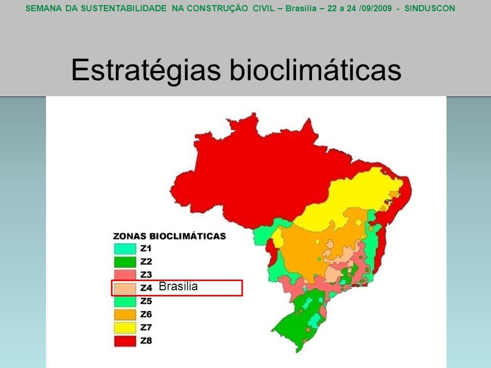 SEMANA DA SUSTENTABILIDADE NA CONSTRUÇÃO CIVIL – Brasília – 22 a 24 /09/2009 - SINDUSCON Estratégias bioclimáticas Brasilia