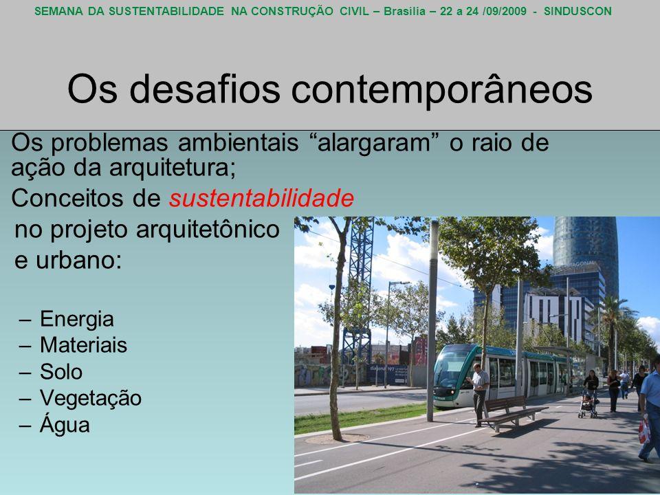 SEMANA DA SUSTENTABILIDADE NA CONSTRUÇÃO CIVIL – Brasília – 22 a 24 /09/2009 - SINDUSCON Os desafios contemporâneos Os problemas ambientais alargaram