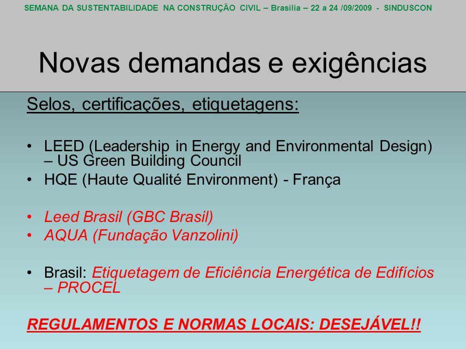 SEMANA DA SUSTENTABILIDADE NA CONSTRUÇÃO CIVIL – Brasília – 22 a 24 /09/2009 - SINDUSCON Novas demandas e exigências Selos, certificações, etiquetagen