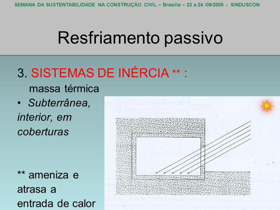 SEMANA DA SUSTENTABILIDADE NA CONSTRUÇÃO CIVIL – Brasília – 22 a 24 /09/2009 - SINDUSCON Resfriamento passivo 3. SISTEMAS DE INÉRCIA ** : massa térmic