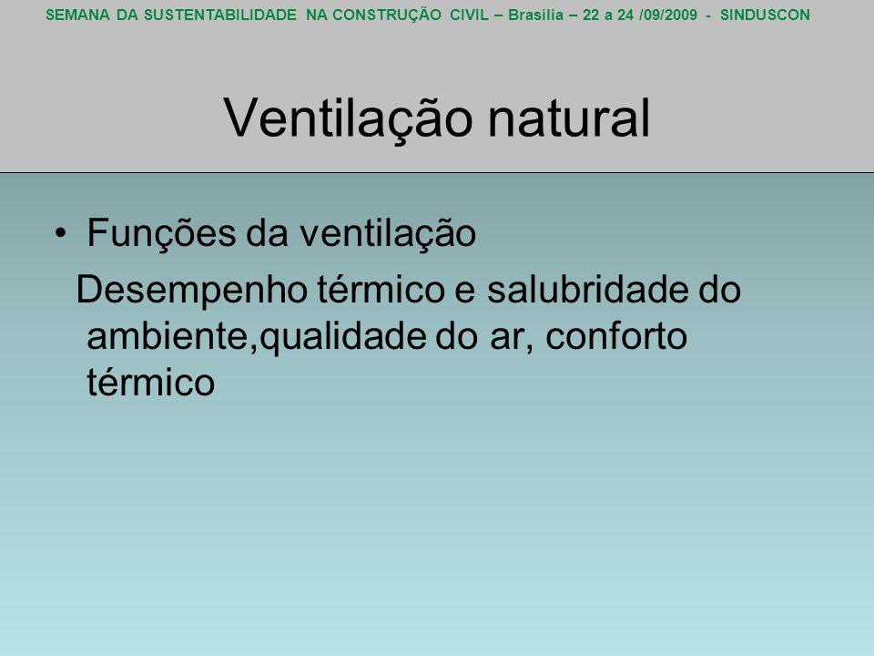 SEMANA DA SUSTENTABILIDADE NA CONSTRUÇÃO CIVIL – Brasília – 22 a 24 /09/2009 - SINDUSCON Ventilação natural Funções da ventilação Desempenho térmico e
