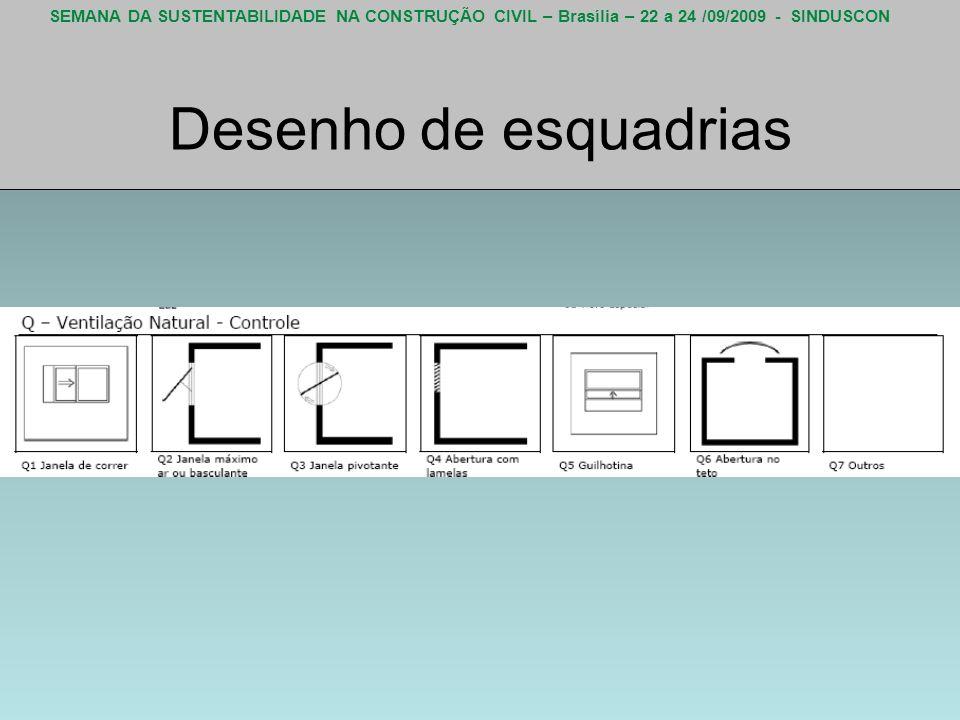 SEMANA DA SUSTENTABILIDADE NA CONSTRUÇÃO CIVIL – Brasília – 22 a 24 /09/2009 - SINDUSCON Desenho de esquadrias