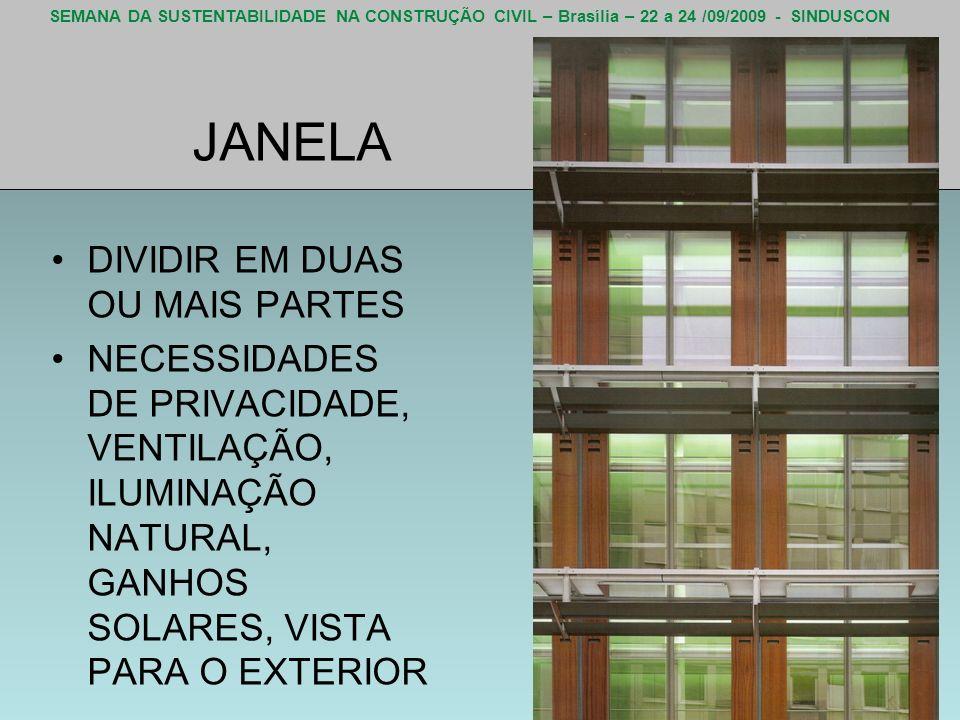 SEMANA DA SUSTENTABILIDADE NA CONSTRUÇÃO CIVIL – Brasília – 22 a 24 /09/2009 - SINDUSCON JANELA DIVIDIR EM DUAS OU MAIS PARTES NECESSIDADES DE PRIVACI