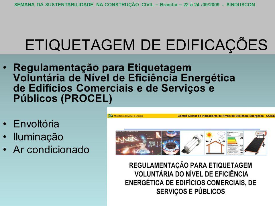 SEMANA DA SUSTENTABILIDADE NA CONSTRUÇÃO CIVIL – Brasília – 22 a 24 /09/2009 - SINDUSCON ETIQUETAGEM DE EDIFICAÇÕES Regulamentação para Etiquetagem Vo