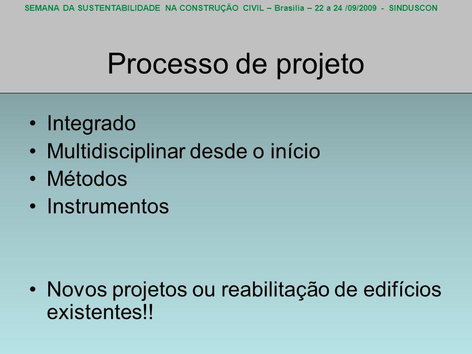 SEMANA DA SUSTENTABILIDADE NA CONSTRUÇÃO CIVIL – Brasília – 22 a 24 /09/2009 - SINDUSCON Processo de projeto Integrado Multidisciplinar desde o início