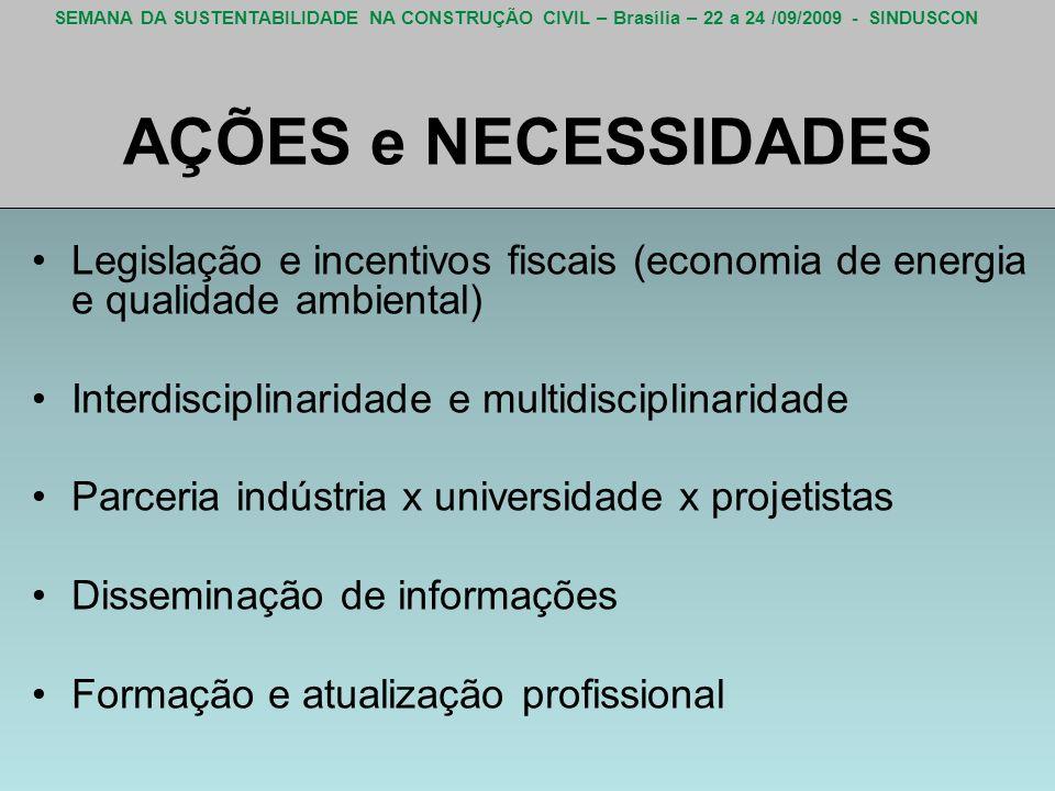 SEMANA DA SUSTENTABILIDADE NA CONSTRUÇÃO CIVIL – Brasília – 22 a 24 /09/2009 - SINDUSCON AÇÕES e NECESSIDADES Legislação e incentivos fiscais (economi
