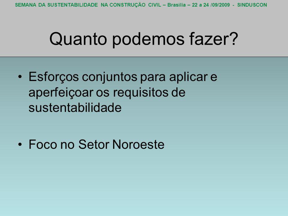 SEMANA DA SUSTENTABILIDADE NA CONSTRUÇÃO CIVIL – Brasília – 22 a 24 /09/2009 - SINDUSCON Quanto podemos fazer? Esforços conjuntos para aplicar e aperf