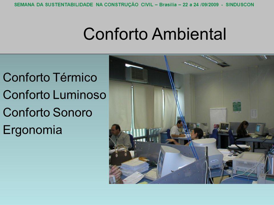 SEMANA DA SUSTENTABILIDADE NA CONSTRUÇÃO CIVIL – Brasília – 22 a 24 /09/2009 - SINDUSCON Conforto Ambiental Conforto Térmico Conforto Luminoso Confort
