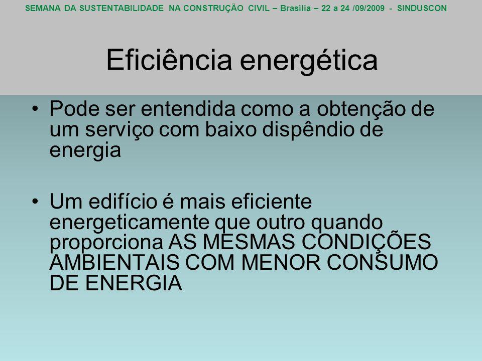SEMANA DA SUSTENTABILIDADE NA CONSTRUÇÃO CIVIL – Brasília – 22 a 24 /09/2009 - SINDUSCON Eficiência energética Pode ser entendida como a obtenção de u