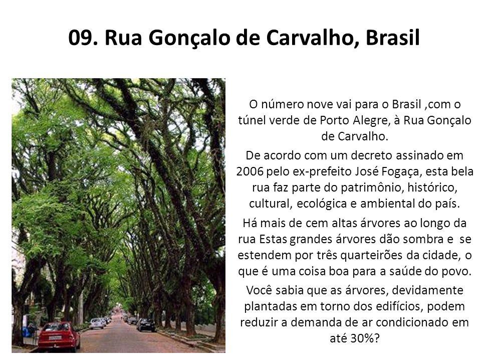09. Rua Gonçalo de Carvalho, Brasil O número nove vai para o Brasil,com o túnel verde de Porto Alegre, à Rua Gonçalo de Carvalho. De acordo com um dec