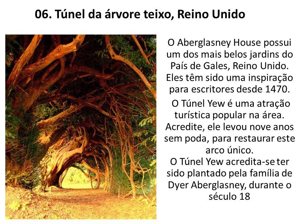 06. Túnel da árvore teixo, Reino Unido O Aberglasney House possui um dos mais belos jardins do País de Gales, Reino Unido. Eles têm sido uma inspiraçã