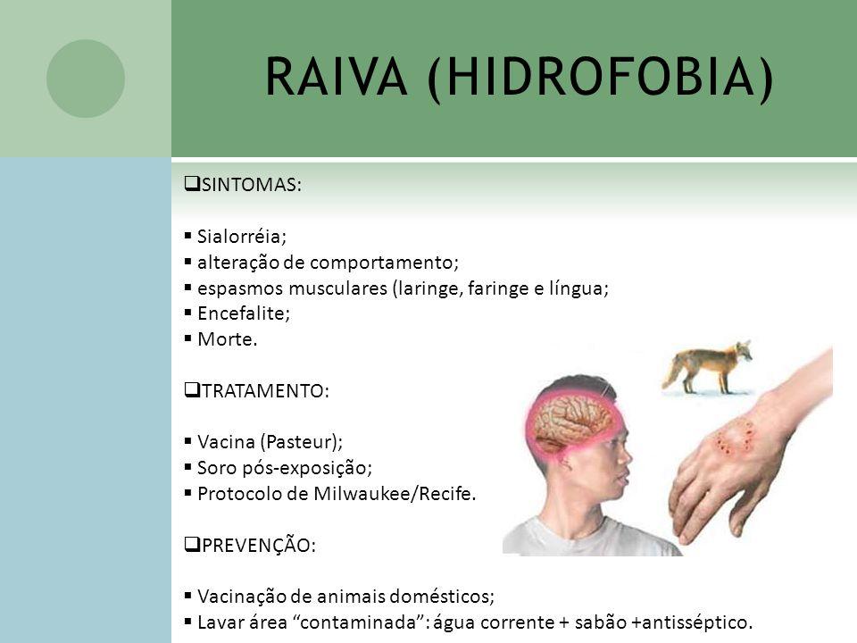 SINTOMAS: Sialorréia; alteração de comportamento; espasmos musculares (laringe, faringe e língua; Encefalite; Morte. TRATAMENTO: Vacina (Pasteur); Sor