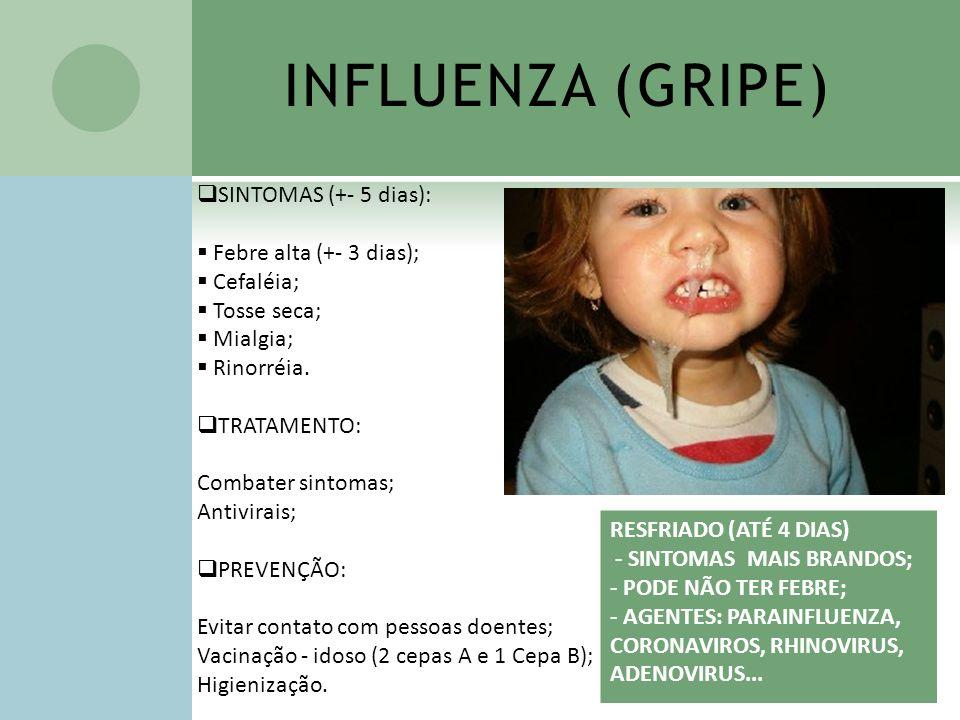 INFLUENZA (GRIPE) SINTOMAS (+- 5 dias): Febre alta (+- 3 dias); Cefaléia; Tosse seca; Mialgia; Rinorréia. TRATAMENTO: Combater sintomas; Antivirais; P