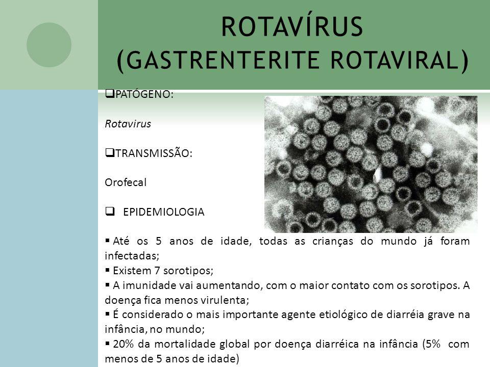 ROTAVÍRUS ( GASTRENTERITE ROTAVIRAL ) PATÓGENO: Rotavirus TRANSMISSÃO: Orofecal EPIDEMIOLOGIA Até os 5 anos de idade, todas as crianças do mundo já fo
