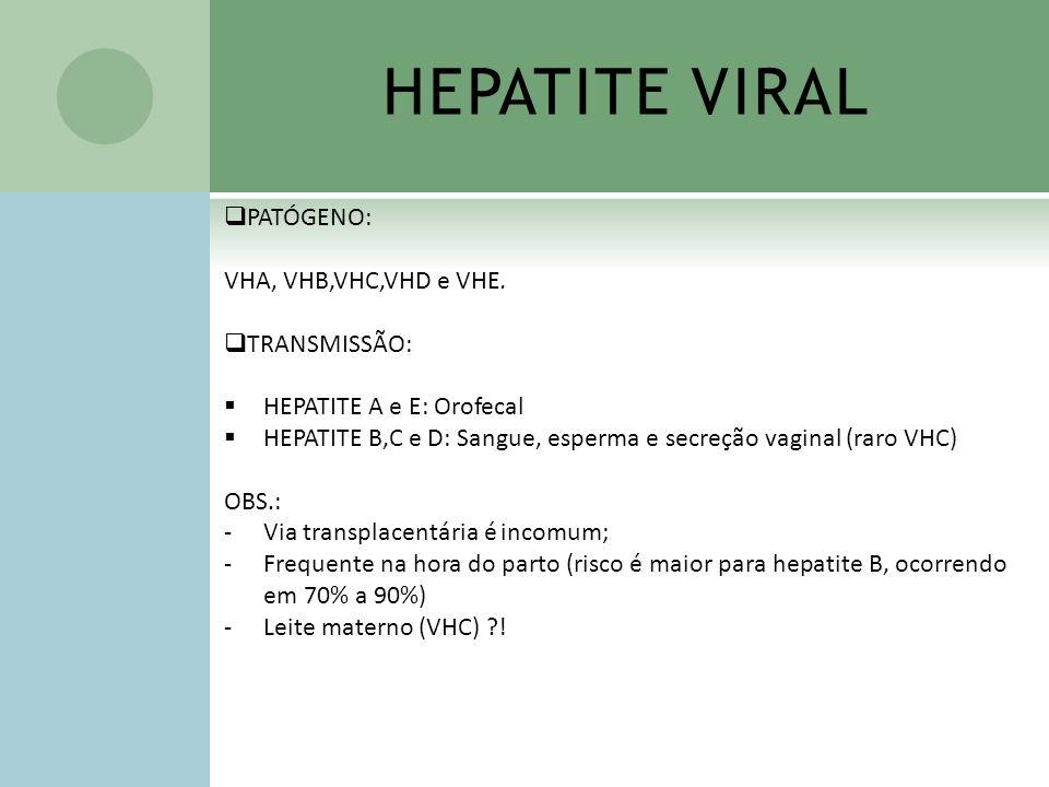 HEPATITE VIRAL PATÓGENO: VHA, VHB,VHC,VHD e VHE. TRANSMISSÃO: HEPATITE A e E: Orofecal HEPATITE B,C e D: Sangue, esperma e secreção vaginal (raro VHC)