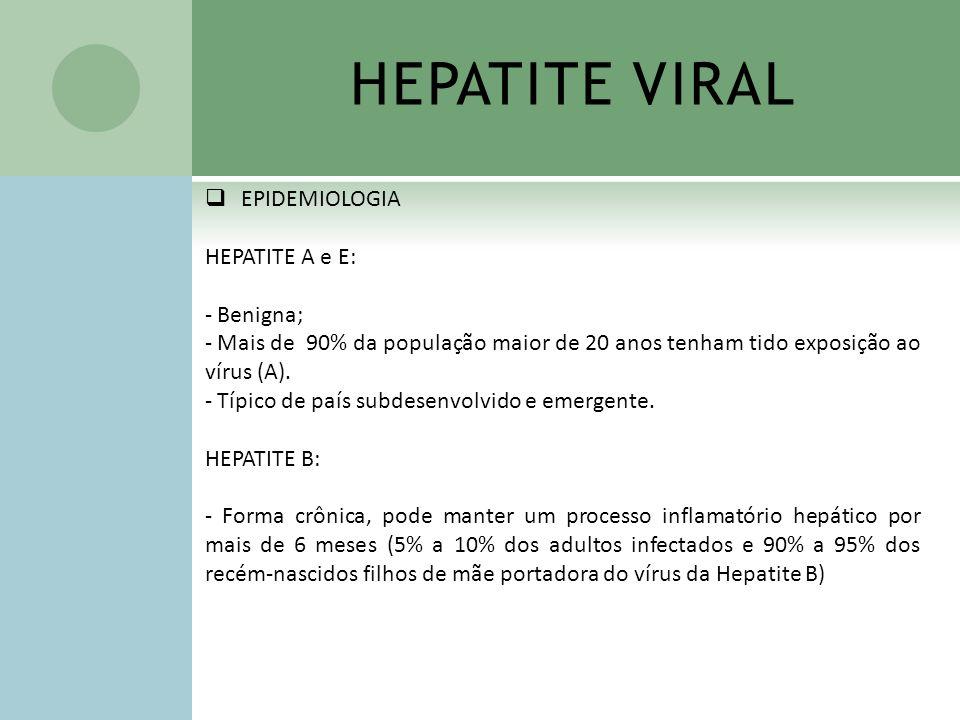 HEPATITE VIRAL EPIDEMIOLOGIA HEPATITE A e E: - Benigna; - Mais de 90% da população maior de 20 anos tenham tido exposição ao vírus (A). - Típico de pa