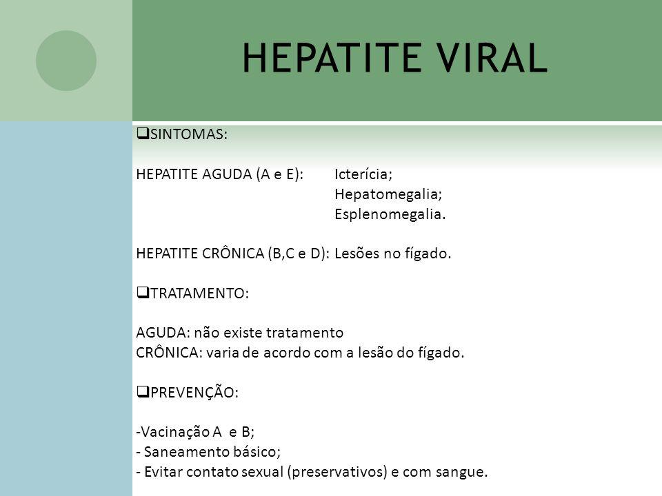 HEPATITE VIRAL SINTOMAS: HEPATITE AGUDA (A e E): Icterícia; Hepatomegalia; Esplenomegalia. HEPATITE CRÔNICA (B,C e D):Lesões no fígado. TRATAMENTO: AG