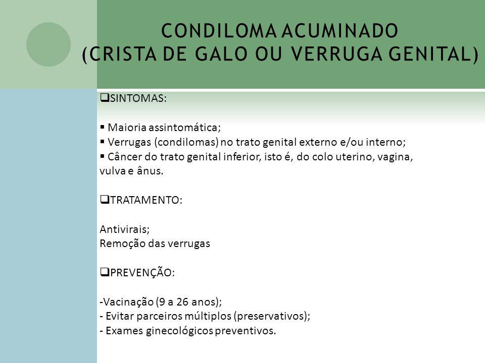 CONDILOMA ACUMINADO (CRISTA DE GALO OU VERRUGA GENITAL) SINTOMAS: Maioria assintomática; Verrugas (condilomas) no trato genital externo e/ou interno;